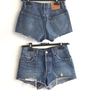 LEVI's 501 Cut Off Denim Shorts Blue 24